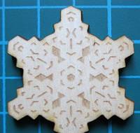 Деревянный чипборд Снежинка 6, 40х35 мм