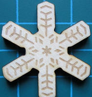 Деревянный чипборд Снежинка 4, 32х36 мм