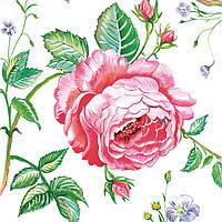 Салфетка для декупажа Английская роза (при развороте - букет из 3 шт), 33х33 см