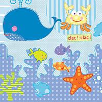 Салфетка для декупажа Подводный мир - детская, 33х33 см