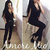Женский стильный черный комбинезон с поясом , фото 3