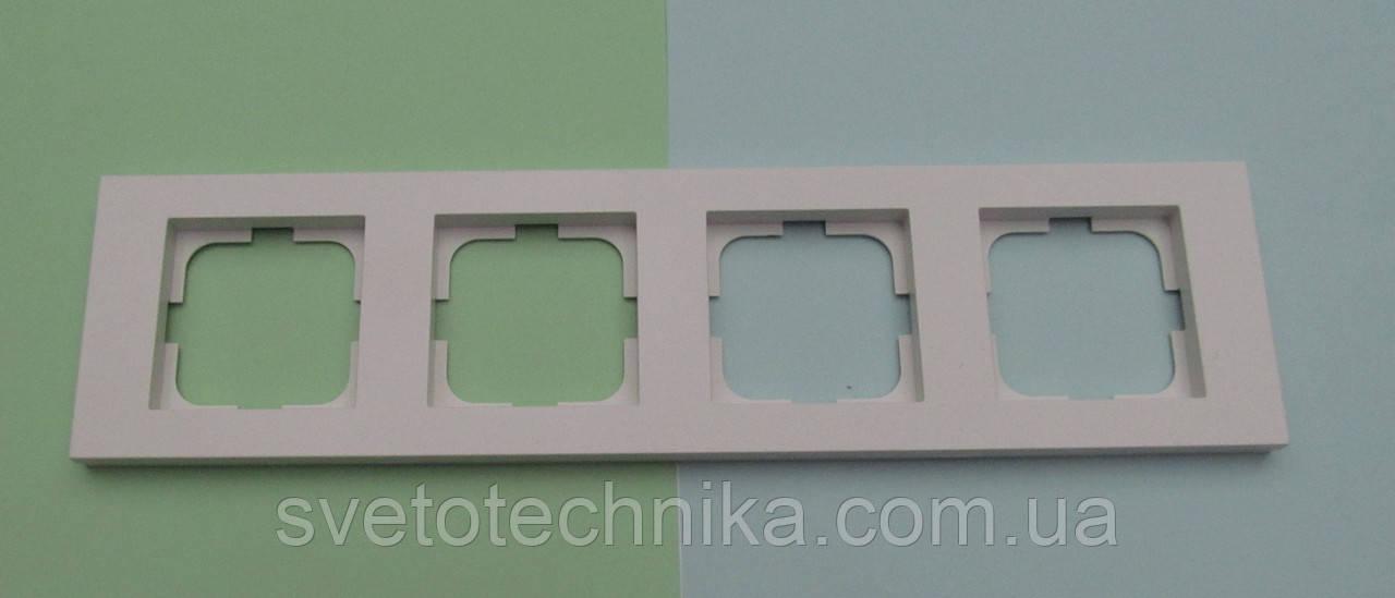 Четверная рамка Ovivo Grano горизонтальная скрытой установки (белый)