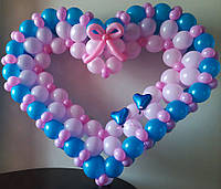 """Сердце безкаркасное из воздушных шаров """"ты и я"""""""