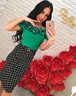 Женская шикарная блуза с рюшами и юбка-карандаш (отдельно) расцветки