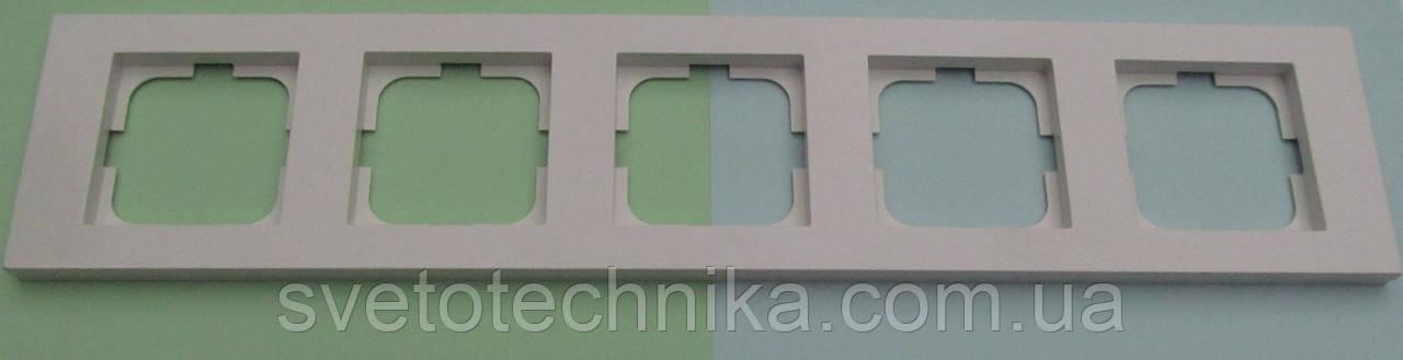 Пятерная рамка Ovivo Grano горизонтальная скрытой установки (белый)