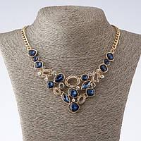 """Колье на цепочке """"Элегант"""" с синими кристаллами L-40-52см цвет металла """"золото"""""""