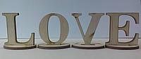 Лазерная вырубка Набор букв LOVE на подставке, 5 см