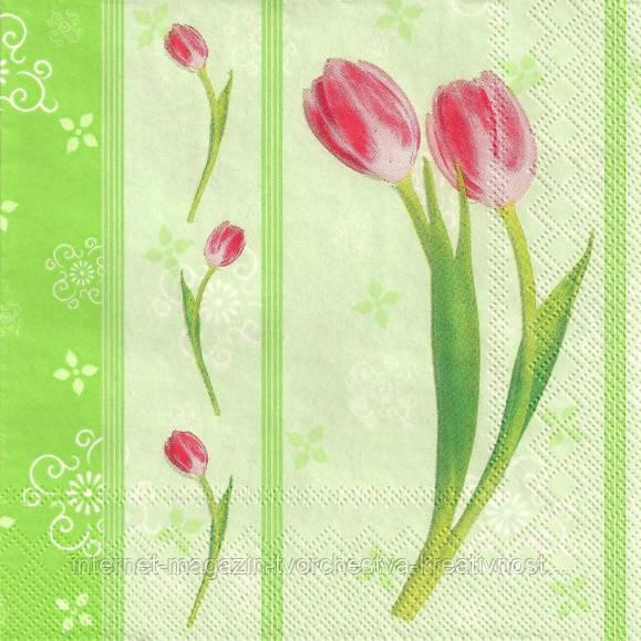 Салфетка для декупажа Тюльпаны розовые, 33х33 см