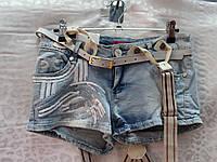 Короткие женские шорты с вышивкой  пакетами и съемными подтяжками