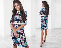 Модное женское облегающее платье-миди с принтом с рукавом 3/4с белым воротником  +цвета