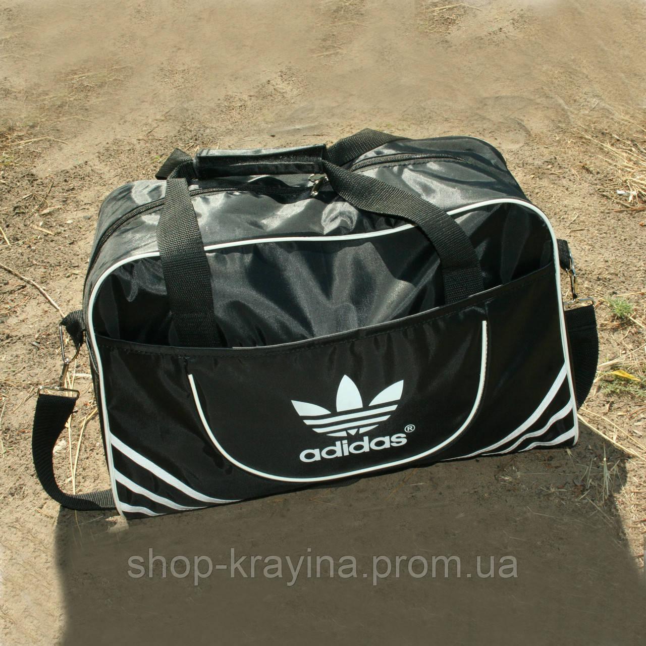Сумка дорожня Adidas репліка, 30х46х18 см, черн
