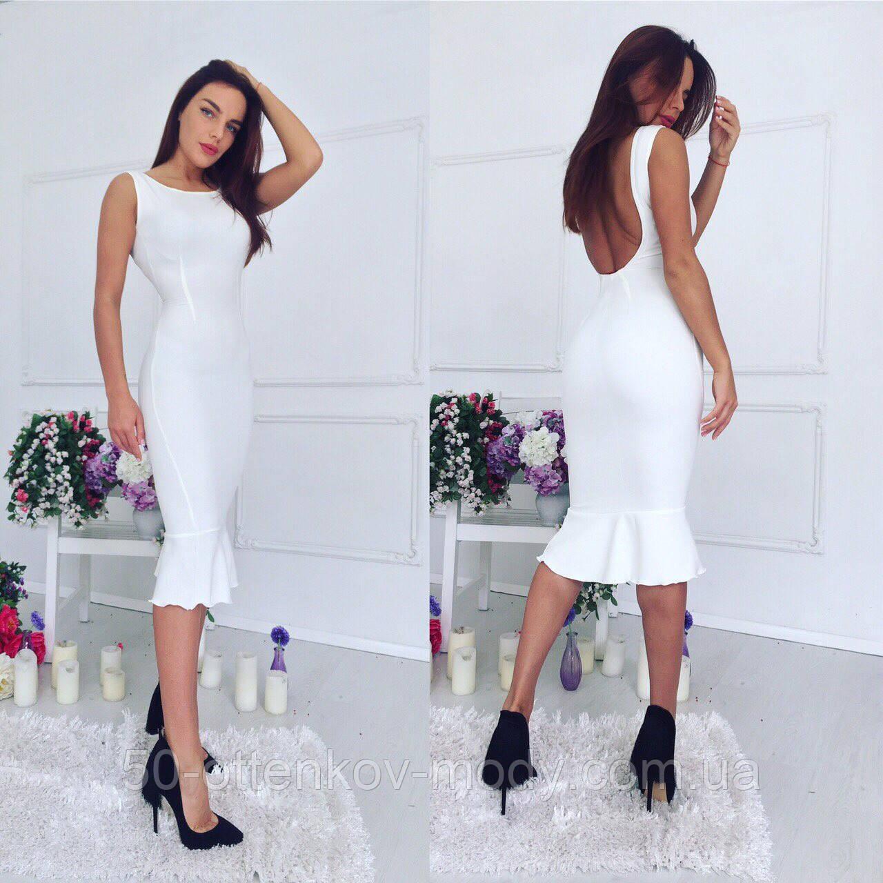 dfd4474099ba Женское стильное белое облегающее платье с баской   продажа, цена в ...