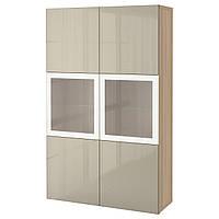 BESTÅ Стеллаж/стеклянная дверь, дуб bejcowany бело, Selsviken высокий глянец/ бежевый матовое стекло