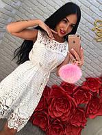 Женское стильное летнее кружевное платье без рукава