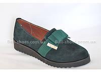 Туфли женские из натуральной замши бант