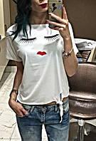Женская модная футболка с завязками и принтами (ваианты принтов)