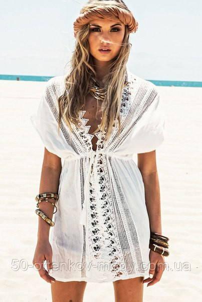 Женская белая пляжная туника с кружевом