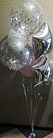 Прозрачный гелиевый шар с конфетти диаметром 48 см