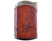 Зажигалка фирменная качественная газовая Eagle (турбо пламя) №4146 + газ в подарок