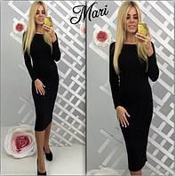 Облегающее платье миди черное