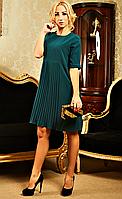 Оригинальное женское платье со складками изумрудного цвета, размер XXL