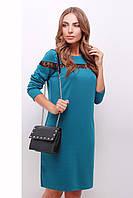 Стильное бирюзовое платье со вставками кружева спереди и по спинке