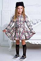 """Стильное детское платье-рубашка 948 """"Полушерсть Клетка Барберри Клёш"""""""