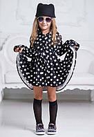 """Стильное детское платье-рубашка 948 """"Полушерсть Горох Клёш"""""""