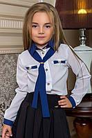 """Детская школьная блузка для девочек 0002 """"Шифон Галстук Контраст"""""""