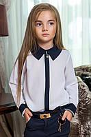 """Детская школьная блузка для девочек 0003 """"Шифон Воротничок Контраст Подвеска"""""""