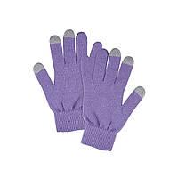 Перчатки женские сенсорные лиловые с люрексом