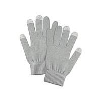Перчатки женские сенсорные серые