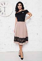 """Элегантный женский костюм с юбкой средней длины 960 """"Трикотаж Коттон Кружево"""" в расцветках"""