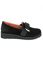 Туфли женские Бантик из натуральной замши черные