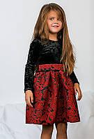 """Детское нарядное короткое платье """"Бархат Жаккард"""" в расцветках"""
