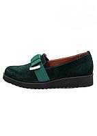 Туфли женские Бантик изумрудного цвета из натуральной замши на низком ходу