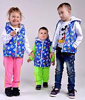 """Детская стильная жилетка с капюшоном на синтепоне """"Принт Спорт"""" в расцветках"""