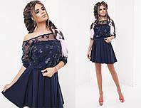 """Элегантный женский нарядный комплект с платьем 2045 """"Двойка Бюстье Сетка Цветы"""" в расцветках"""