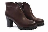 Ботинки женские Summergirl эко-кожа, цвет темно-коричневый (ботильоны стильные, каблук)