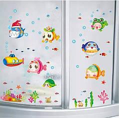 """Наклейки на стену, наклейки в ванную """"подводный мир смешные рыбки"""" (лист50*70см) рыбки наклейки для детей"""