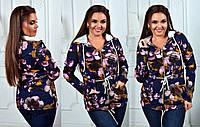 """Стильная женская парка-кардиган до больших размеров 100 """"Трикотаж Цветы"""" в расцветках"""