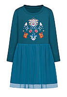 Трикотажное платье для девочки, цвет «темная лазурь», фото 1