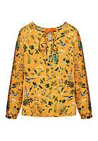 Блузка з набивним малюнком для дівчинки, колір шафран, фото 1