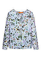 Блузка с набивным рисунком для девочки, цвет светло-голубой