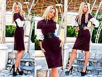 """Элегантное женское платье офисный стиль 1057 """"Креп Рукава Софт Корсет"""" в расцветках"""