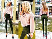 """Стильный женский костюм с брюками 2057 """"Джинс Вышивка Шифон Бант"""" в расцветках"""