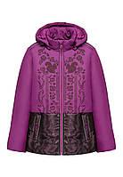 Утепленная куртка для девочки, цвет бордовый, фото 1