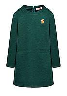 Стеганое трикотажное платье с вышивкой для девочки, цвет «темный изумруд»