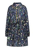 Платье с набивным рисунком для девочки, цвет серо-синий
