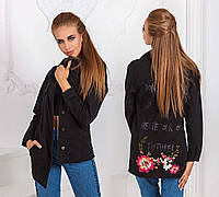 Женская стильная удлинённая джинсовая куртка-кардиган 7141